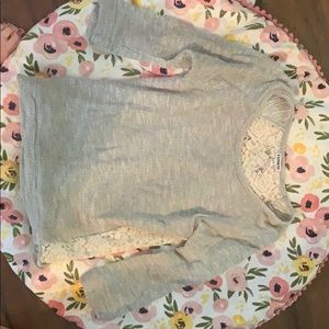 3/4 grey express sweater w/lace back